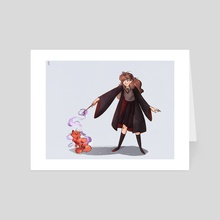 Hermione & Crookshanks - Art Card by Ophélie Cohen