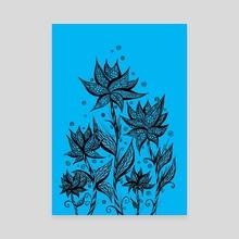 Abstract Flower Lineart Blue - Canvas by Sebastian Grafmann