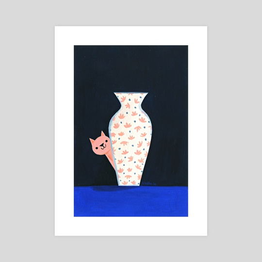 Cat & Vase by Nellie Le