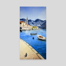 Perast, Montenegro - Old Town, original watercolor art - Canvas by Nenad Kojić