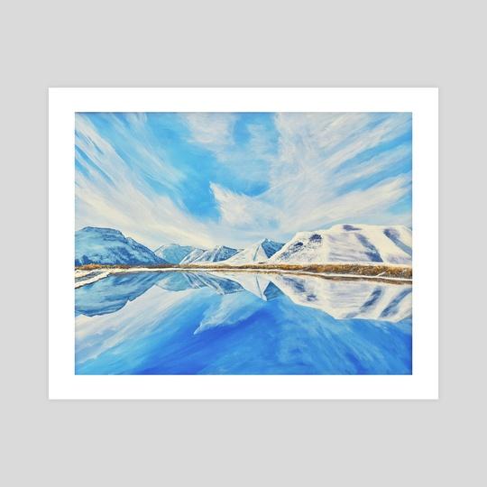 Maskinonge Waterton Lakes Winter Reflection by Brian Sloan