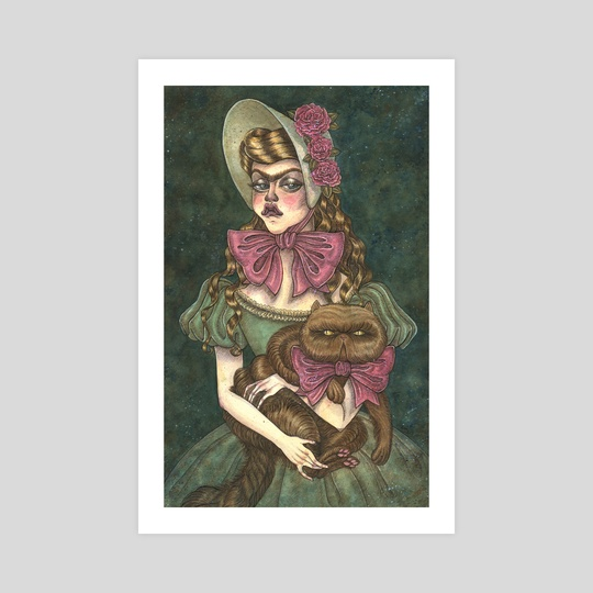 A Girl and her Cat by Esther  Coonfield
