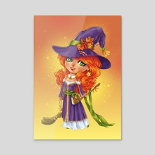 Halloween Witch Chibi - Acrylic by Maria Dimova