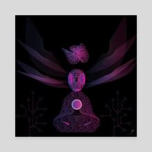 Cyber Monk - Canvas by Ganesh Nomula