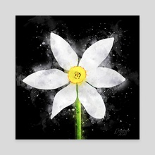 White Daffodil - Mixed Media - Canvas by Dreamframer