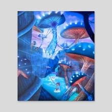 magic mushroom world - Acrylic by Anatole Belliard