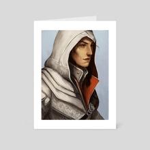 Kassandra in Ezio's armor - Art Card by Adrienn Czene