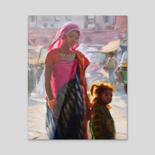 Mother with Child - Jodhpur India - Acrylic by Pavel Sokov