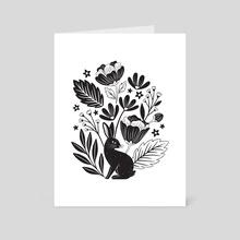 Rabbit Bouquet - Black on White - Art Card by Lauren Myers