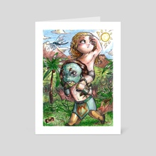 Luchasaurus & Jungle Boy - Art Card by Elisabetta Palmeri