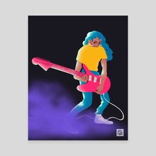 Pink Guitar - Canvas by cubey