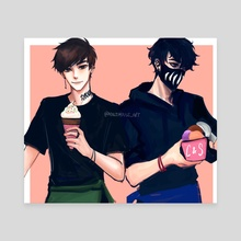 Corpse and Sykkuno Ice Cream Shop - Canvas by Minjimouse_art