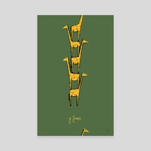 G) Tower of Giraffes - Canvas by Mal Jones