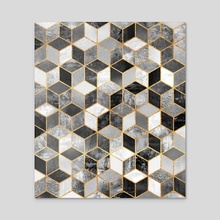 Black and white cubes - Acrylic by Elisabeth Fredriksson
