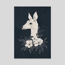 Dark Moon Deer - Canvas by Angeline Balayn
