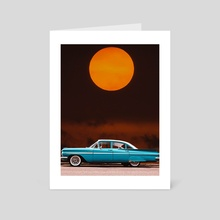 Red Moon With Blue Car - Art Card by 016 Graphics