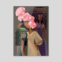 Egyptian girls in pink - Acrylic by Adeline Fleuve