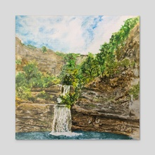 Waterfall - Acrylic by Dafina Dervishi