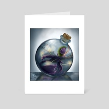 Mermaid in a bottle - Art Card by Laura Megara