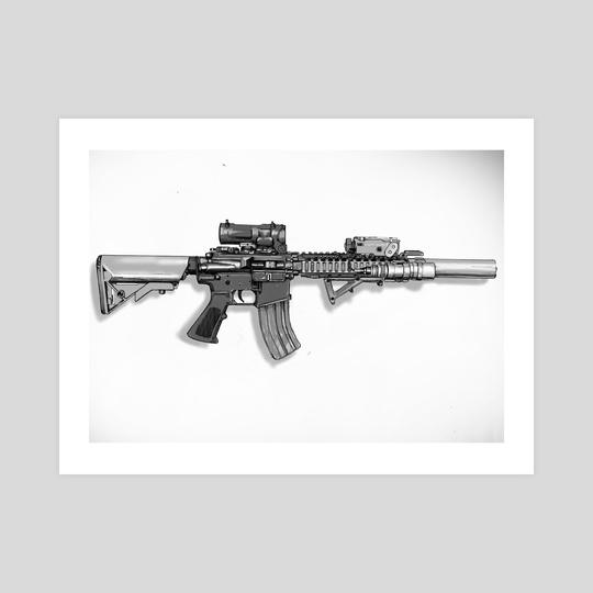 M4A1 SOPMOD Block II. (Ink) by Harold Zhang