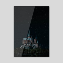 Hogwarts at night  - Acrylic by Harsh Aaryan