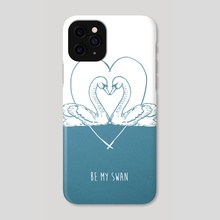 Be My Swan blue - Phone Case by Emma Fitzgerald