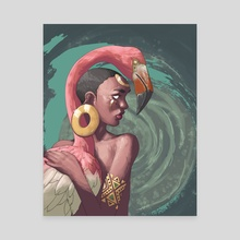 Flamingo Goddess - Canvas by Melvin Halsey Jr