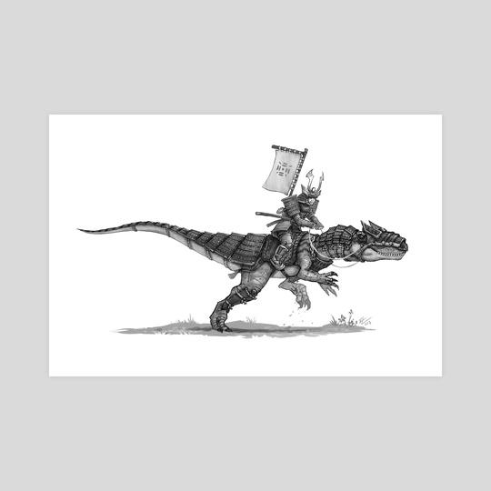 Samurai with allosaurus  by Shaun Keenan