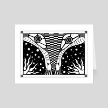 7.B&W-A4. Snake - Art Card by Darling Wicks