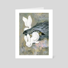 white rabbit - Art Card by yukari masuike