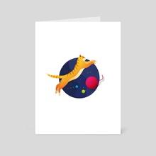 A Red Cat In Space - Art Card by Olha Hordynska