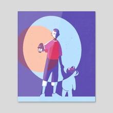 Boy with Bear - Acrylic by Anna Vasilieva