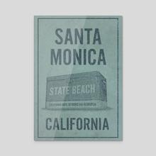 Santa Monica State Beach California Travel Poster - Acrylic by John Morris