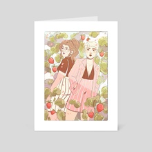 Strawberry & Pinstripes - Art Card by Liv Tilbury