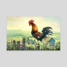 Rooster - Canvas by Zhovba Pavel