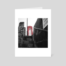 Low Angle Retro Red Telephone Box - Art Card by Bethany Ann Funnell