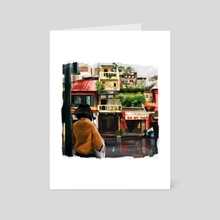 Crossing the Street - Art Card by Sophie Pickerrell