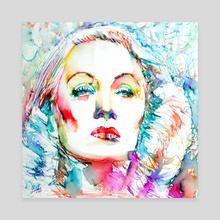 MARLENE DIETRICH - colored pens portrait - Canvas by LAUTIR