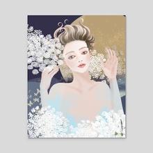 Queen Anne's Lace - Acrylic by Akiko Fukuda