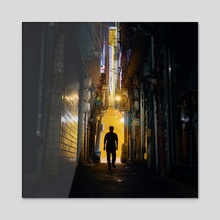 Cyberpunk Yellow Alley - Acrylic by Alberto Urra