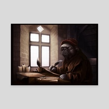 Medieval Doges 02: The pug scribe - Canvas by Sam King