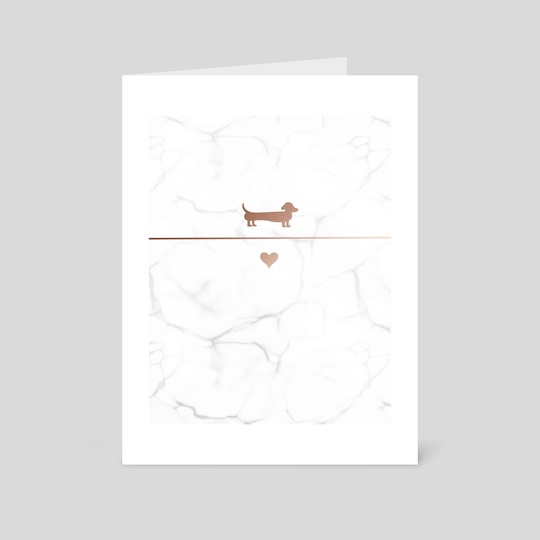 Marble & Rose Gold Dachshund Silhouette  by Laura's Lovelies