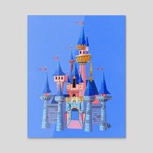 New Sleeping Beauty Castle Inspired Illustration Print - Acrylic by Hayden Evans