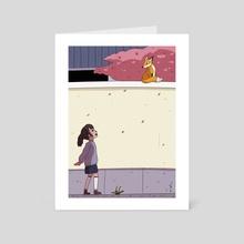 Fox on a wall - Art Card by Arlerya