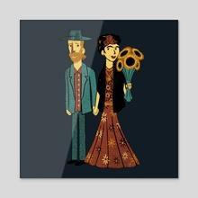Love is Art Frida Kahlo and Van Gogh - Acrylic by Tobias Fonseca