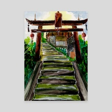 Wooden Gate and Temple Stairs - Canvas by Sebastian Grafmann