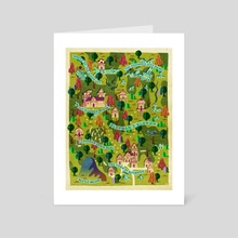 Any Which Way Map 19 with location names - Art Card by Arlin Ortiz