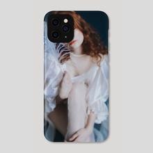 Photo of a girl in a white dress on a blue background 5 - Phone Case by Kseniya Lokotko