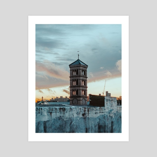Plane over Bell Tower by Emma Bjornsen