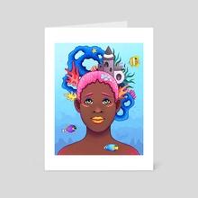 Afro Aquarium - Art Card by Abigail Herron